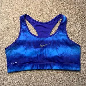 Women's blue athletic Nike sports bra